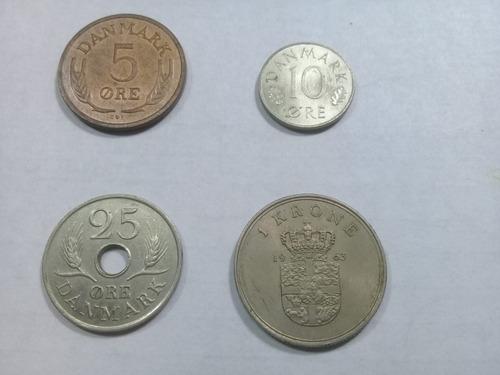 4 Monedas De Dinamarca -rey Federico Ix