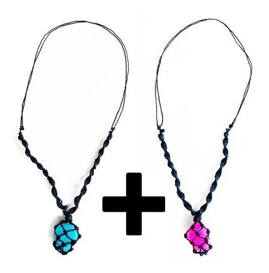 Kit Com 2 Colares De Pedra Que Brilha No Escuro-azul E Lilás