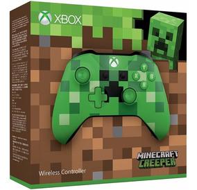 Controle Xbox One S Minecraft Creeper S. Fio Microsoft Verde