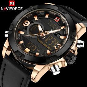 Relógio Masculino Naviforce Militar Pulseira De Couro Cobre