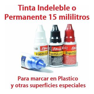 2 Tintas Indeleble Permanente C/u15ml Para Plástico Y Sellos