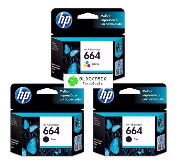 Kit 3 Cartuchos Hp 664 Original 2 Preto + 1 Colorido 2ml
