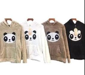 Blusa Frio Feminina Infantil Panda Modelo Canguru Pelinho