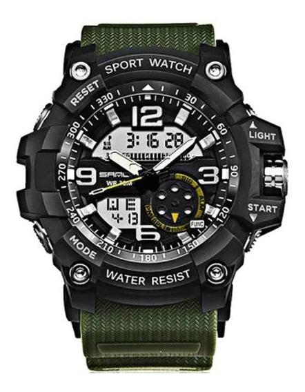 Relógio Sanda 740 5321 Luminoso De Duplo Movimento P/ Homen