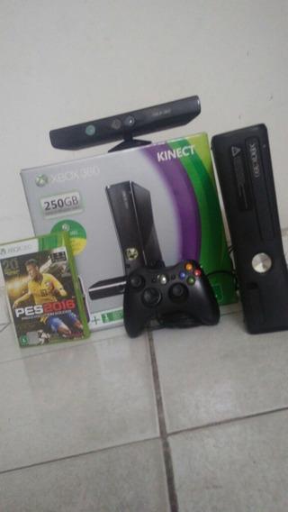 Video Game Xbox 360 250gb Travado Cm Kinect Controle E Jogo