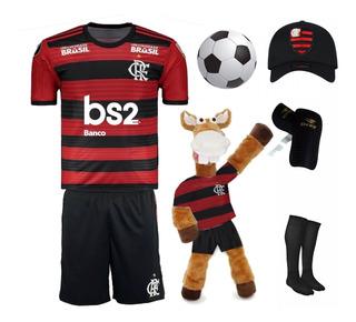 Kit Conjunto Uniforme Futebol Flamengo Mengão + 5 Itens