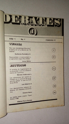 Imagen 1 de 9 de Libro Revista Debates En Sociología 1 Pucp 1977 Empastado