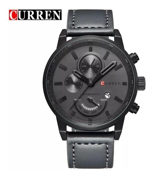 Relógio Masculino Curren Militar De Luxo Modelo 8217 Pulseira Couro + Estojo Curren Frete Grátis