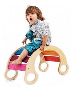 Hamaca Arco Iris Balancin De Madera Juego Waldorf Montessori
