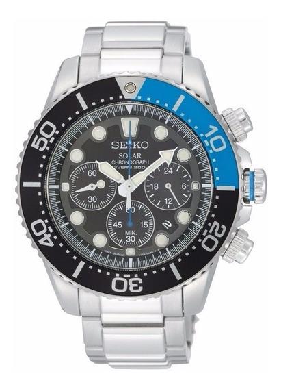 Reloj Seiko Solar Dive Acero Inoxidable Crono Negro Ssc017