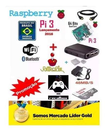 Kit Multijogos Raspberry Pi3 32gb +, 2 Controles Sem Fio