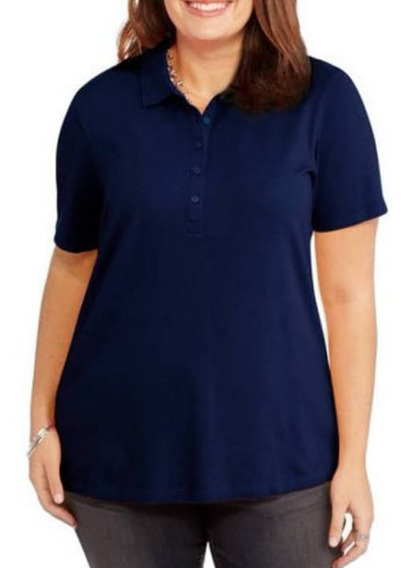 Blusa Dama Extra 4x Tipo Polo Northcrest Alg/spandex Azul Ma