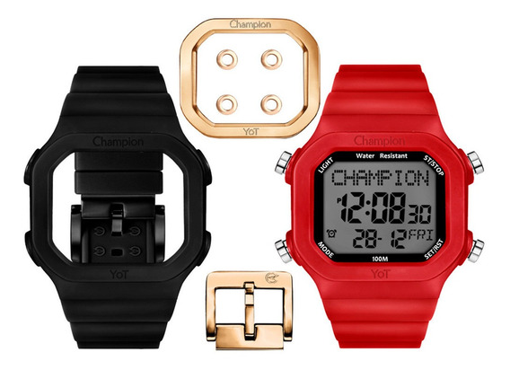 Relógio Champion Digital Yot Troca Pulseira Vermelho Preto