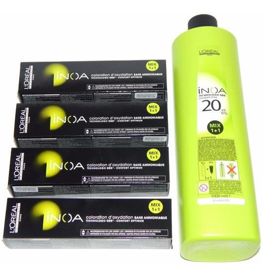 Kit Tintura Loreal Inoa X4 + Oxidante S/ Amoniaco Coloración