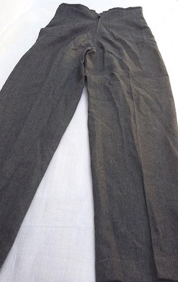 Pantalon Vestir Tiro Alto Gris Oscuro Invierno Dama Talle 42
