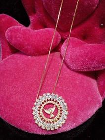 Colar Mandala Escrita Paz Em Zirconia Folheado A Ouro Moda