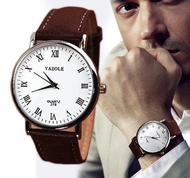 Relógio Fashion De Luxo Couro Analógico De Quartzo