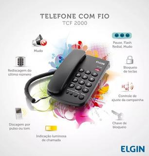 Telefone Elgin De Mesa Com Fio, Bloqueador - Tcf-2000