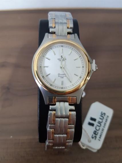 Relógio Feminino Analógico Seculus Prata E Dourado Original Com Certificado