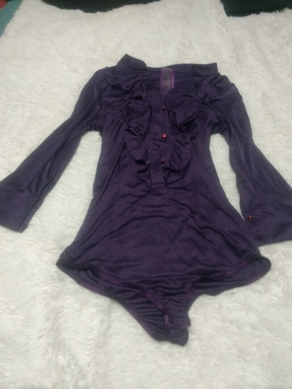 Body Remera Manga Larga Mujer Tucci Tm Violeta Bolados Tm Ly
