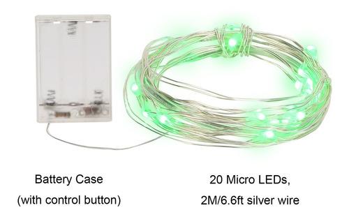Guia De Mini Luces Led X20 2m Verdes - Luciérnagas A Pila