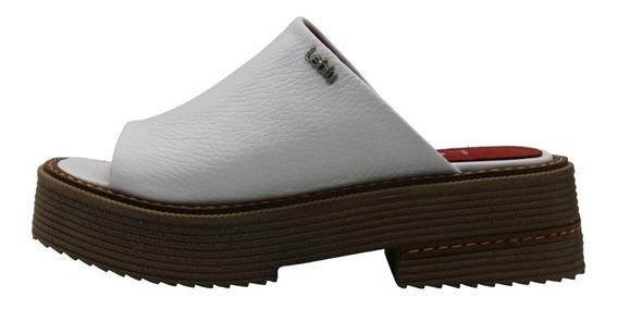 Zapatos Mujer Sandalias Cuero Blanco Bajas Urbanas Leblu 865