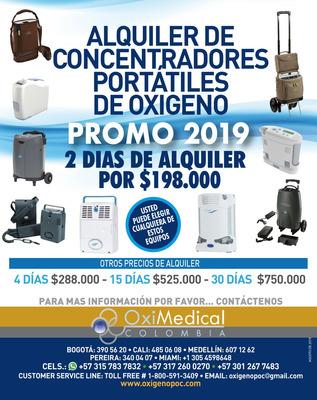 Alquiler Concentrador Portatil Oxigeno Avianca O2 Oximedical