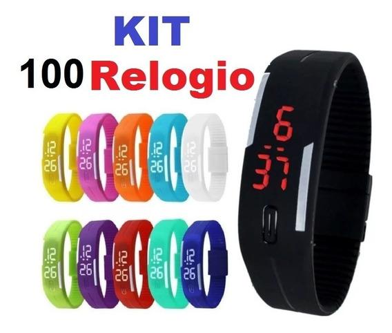 Kit 100 Relógio Masculino Feminino Crianças Atacado Barato
