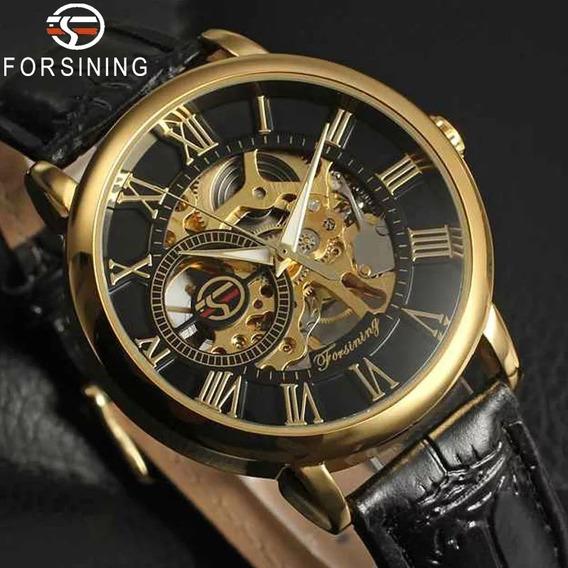 Relógio Masculino Original Forsining Mecânico Mod Gold Luxo