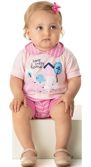 Roupa Bebê Menina Macacão Macaquinho Com Recorte Curto Verão