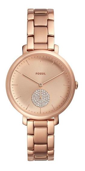 Relógio Feminino Fóssil Analógico Rosa Com Strass Es44381jn