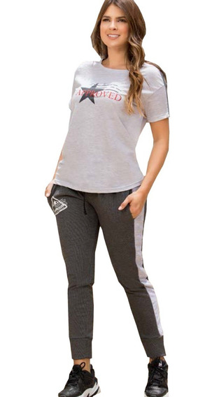 Conjunto Deportivo Camiseta Manga Corta Sudadera Mujer Dama