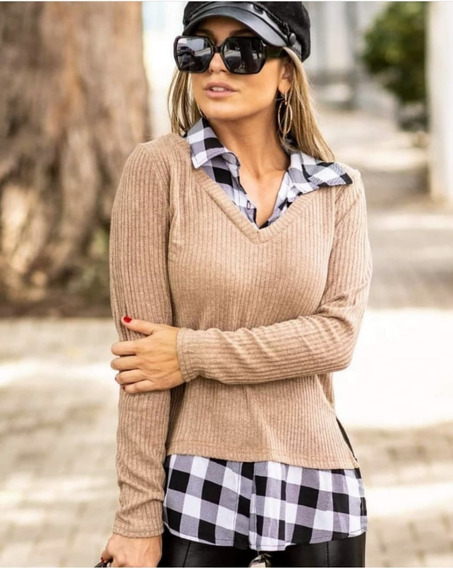 Camisa Blusa Manga Longa Xadrez Com Sobreposição De Suéter