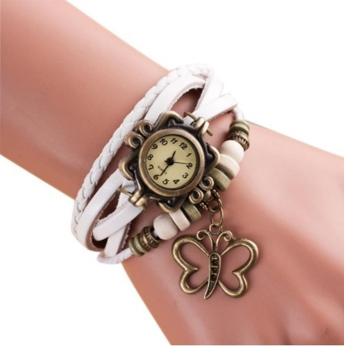 Relógio De Quartzo Feminino Casual Detalhes Com Borboleta