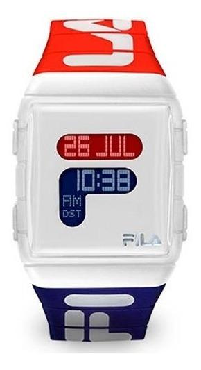 Relógio Quadrado Digital Fila Active 105-005 Azul E Vermelho
