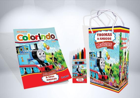 30 Kit Colorir Thomas E Seus Amigos Revista Sacola Lembrança