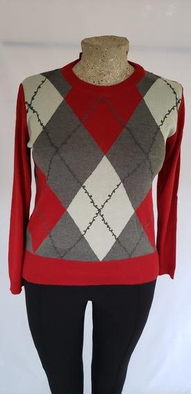 Sweater A Rombos Rojo Tejido T/l