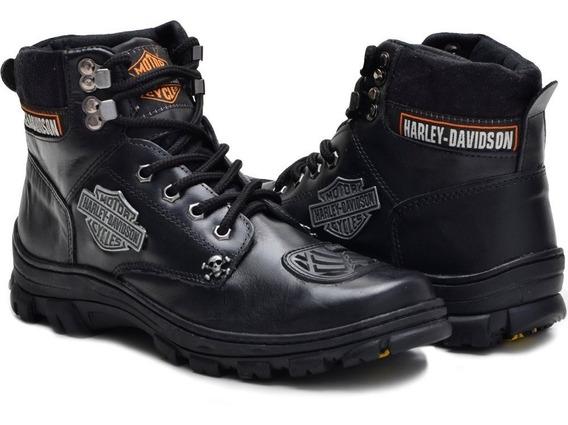 Bota Motociclista Harley Davidson Couro 100% Promocao