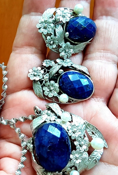 Promoção!!!colar E Brincos Prata Com Perolas E Lápis Lazuli