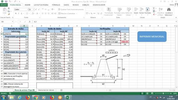 Planilha Para Calcular Muro De Arrimo (perfil Trapezoidal 2)