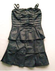 Vestido Pacífico Sul Tafetá Preto Alça 11781 Frete Grátis