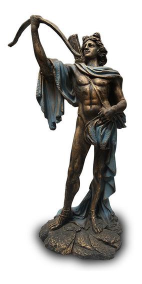 Imagem Deus Grego Apolo Apollo Azul Estátua Em Resina 25cm
