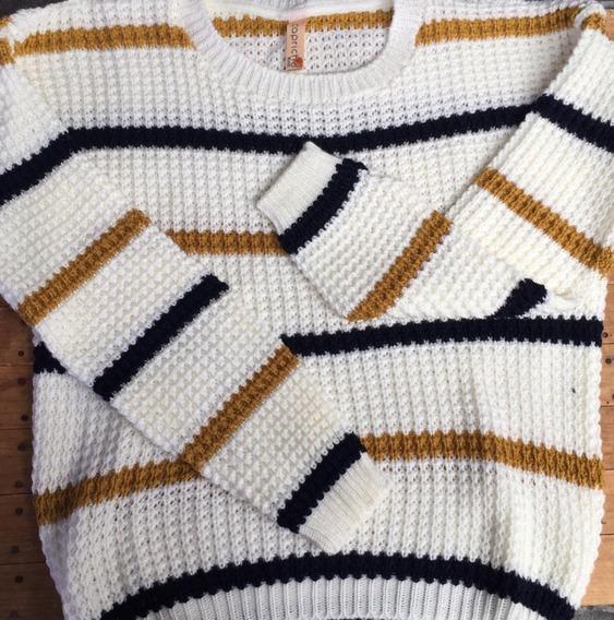 Suéter Tejido Rayado De Dama Otoño/invierno Sweater 4 Puntos