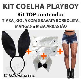 Kit Fantasia Coelha Playboy Tiara Gravata Arrastão Carnaval