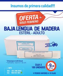 Bajalengua De Madera Esteril - Caja X 100 Unid - Adulto