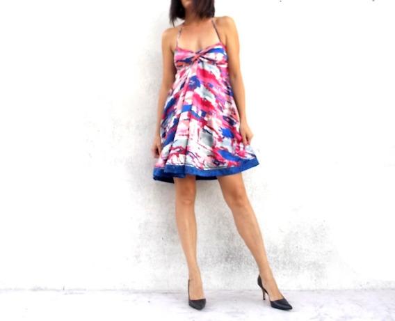 Vestido De Fiesta Satén Estampado Corto