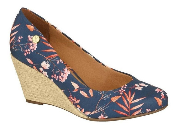 Sapato Scarpin Anabela Vizzano Floral Espadrille Salto Corda