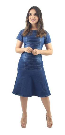 Vestido Moda Evangélica Jeans Com Babado Anagrom Ref.5005