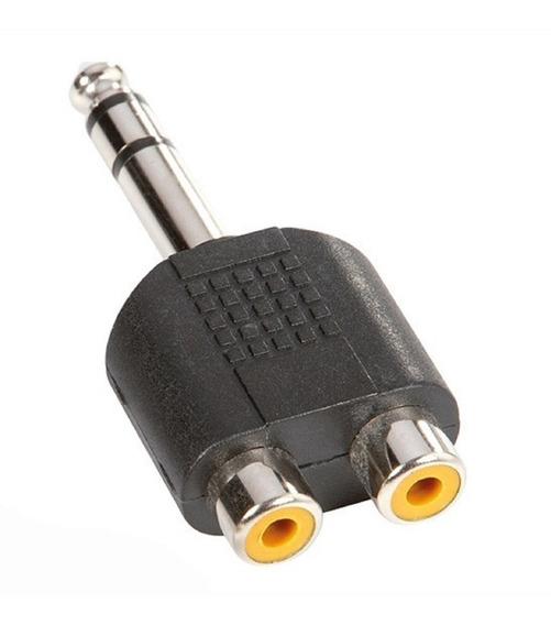 Adaptador De 2 Rca Hembra A Plug Macho Estereo 6.3 Mm 1/4