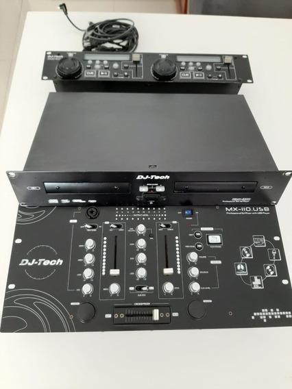 Mixer Para Dj Dj-tech Mx-110.usb + Dual Cd Cdx-310 Player